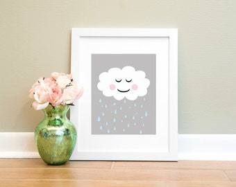 Rain Cloud Print, Nursery Printable, Child Wall Art, Cloud Printable, Printable Art, Nursery Art, Printable Wall Art, Instant Download