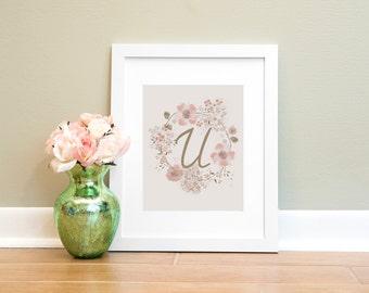 Letter Print U, Monogram Letter U Wall Art Printable, Nursery Art, Home Decor Printable Wall Art, Pink and Brown Letter Print, Floral Print