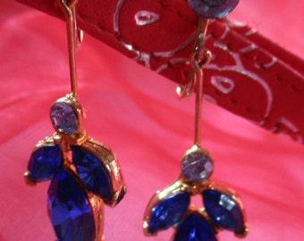 Blue Rhinestones Chandelier Earrings, Marked Patent Pending