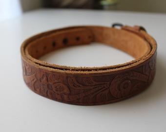 Vintage Brown Tooled Leather Floral Belt