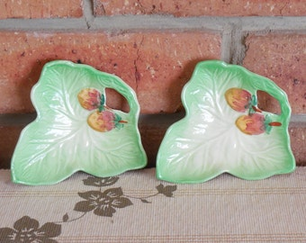 Pair of vintage 1950s Shorter & Son of Staffordshire leaf shape porcelain pin dishes