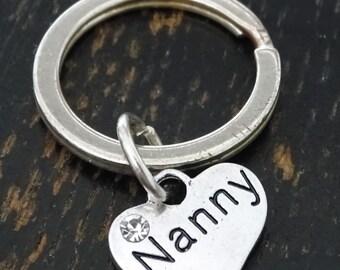 Nanny Keychain, Custom Keychain, Custom Key Ring, Nanny Charm, Nanny Pendant, Nanny Jewelry, Nanny Gift, Babysitter Gift,Babysitter Keychain