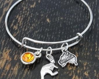 Australia Bangle Bracelet, Adjustable Expandable Bangle Bracelet, Australia Charm, Australia Pendant, Australia Jewelry, Australia Map