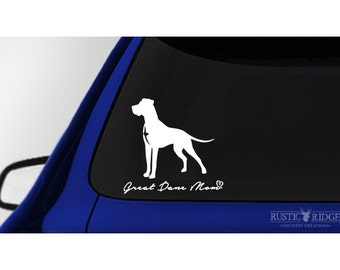 Great Dane Mom, Great Dane Dog Window Sticker Decal