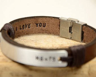FAST SHIPPING, Mens Gift, Leather Bracelet, Leather Men's Bracelet, Brown Leather, Personalize Bracelet, Hidden Message Men's, Hand Stamped