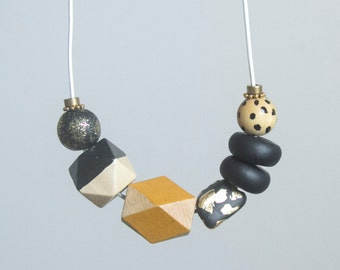 Modern Lady Grace Geometric Wooden and Polymer Clay Necklace