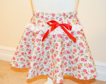 Girls Rose PInk Flower Print Skirt with Lace and Red Satin Ribbon Bow Accents