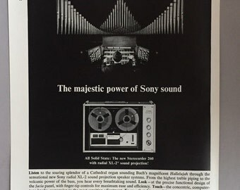 1965 Sony Sterecorder 260 Print Ad - Radial XL-2 Sound Projection Reel to Reel Tape Recorder
