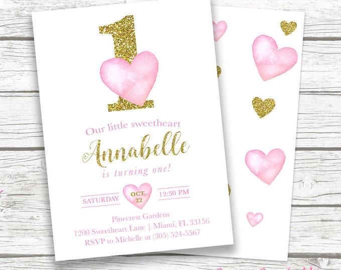 Valentines Day Birthday Invitation, Heart Birthday Invitation, Pink and Gold First Birthday Girl, Watercolor Hearts Printable Invite