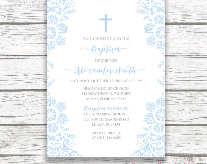 Lace Baptism Invitation Boy, Christening Invitation, First Communion Invite, Blue and Gray Lace Baptism Invite, Printable