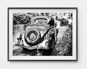 Car Print, Black And White, Fine Art Photography, Ford V8 1935, Vintage, Truck, Auto, Classic Car, Boys Room, Wall Art, Home Decor, Southern