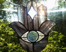Stained Glass Hamsa Hamesh Sun Catcher