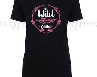 Wild Child Boho Feather Print Top - Boho Shirt - Arrow Print T-Shirt - Boho Chic Top - Free Spirit Hippie Clothes - Back to School