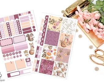 HORIZONTAL Woodland Whimsy Sticker Kit for Erin Condren Planners
