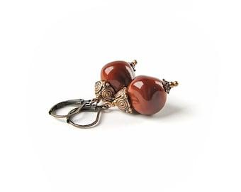 Lampwork Earrings, Little Brown Earrings, Handmade Glass Earrings, Beadwork Earrings, Boho jewelry Boho chick, Autumn Colors