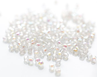 280 pcs of 2mm Round Czech Glass Beads in White with AB Coating, Seed Beads, Tiny Beads