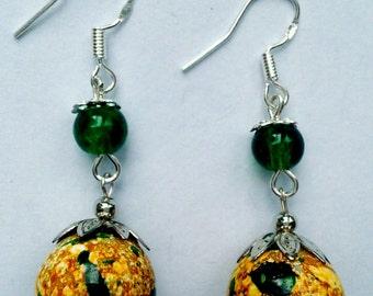 green yellow beaded earrings, yellow green dangle earrings yellow green beaded earrings handmade jewelry