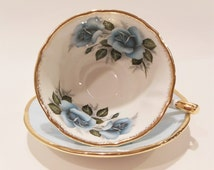 Blue Rose Widemouth Tea Cup - Golden Crown E&R Pastoral Tea Cup Set- Vintage Tea Cup- Shabby Chic Tableware