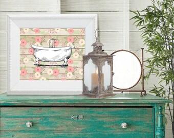 SALE vintage bathtub print, 8 x 10 printable, bathroom decor, cottage chic, pink, tan, wood, rustic, wall art, elegant, sign,image transfer