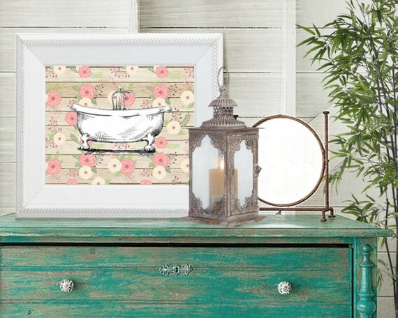 Sale vintage bathtub print 8 x 10 printable bathroom decor for Vintage bathroom printables