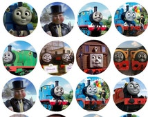 35 THOMAS THE TANK engine train   edible round cupcake fairy cake toppers icing rice paper wafer card  each topper size approx 30mm