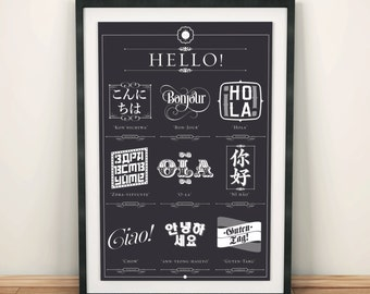 HELLO, in 10 different languages print - typographic poster, learn some new languages!
