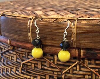Black and Yellow Beaded Earrings
