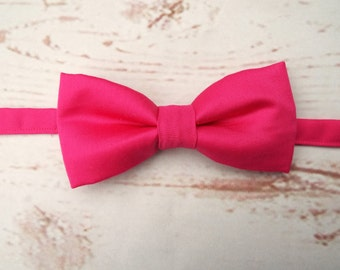 Men's Bow Tie - Pink Bow Tie - Wedding Bow Tie = Tied Bow Tie - Hot Pink Bow Tie - Father's Day Gift