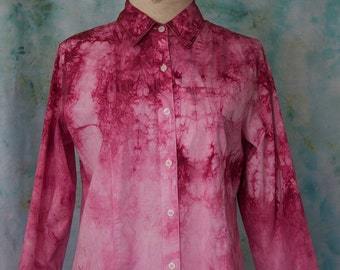 Hand-dyed Ombre Button-down Blouse in Raspberry