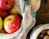 Einkaufsnetze aus Bio-Baumwolle, 2er Set (L+M) in grün