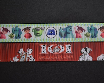 Monster's Inc. / 101 Dalmatians Grosgrain Ribbon! Sulley, Mike, Boo - crafting supplies