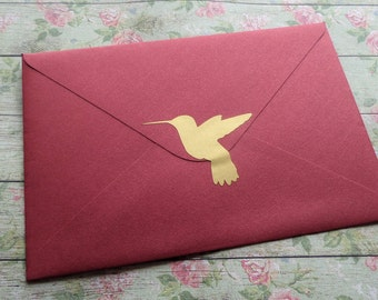 35 gold Hummingbird stickers, hummingbird envelope stickers, gold invitation seal, removable wallpaper, hummingbird decals, humming bird