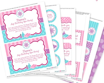 Spa Party - Printable Birthday Party Decorations - Spa Invitation - Instant Download with Editable Text