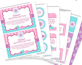 Spa Party - Invitation & Decorations Kit - Printable Birthday Party Package - Instant Download - Editable Text