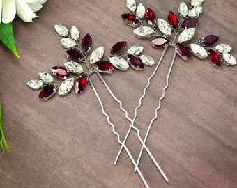Red bridal hair pins Red crystal hair pins Red hair pins Red rhinestone hair pins Red hair accessories Red bobby pins Red hair piece