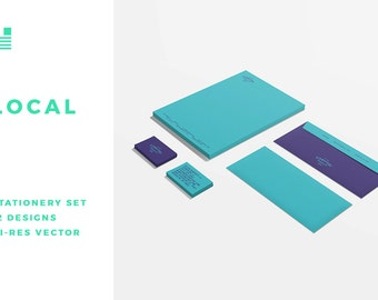 Local Stationery Set, Design Template, Printable Stationery, Printable Business Cards, Business Card Template, PDF Template, Trendy Design