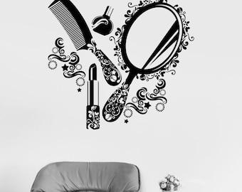 Wall Vinyl Decal Hair Beauty Salon Haircut Make Up Floral Decor 2370di