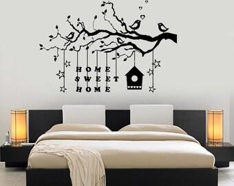 Wall Decal Tree Branch Home Sweet Home Vinyl Sticker Art 1428dz