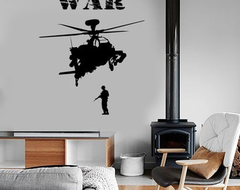 Wall Vinyl Soldier Marine Helicopter War Guaranteed Quality Decal Mural Art 1655dz
