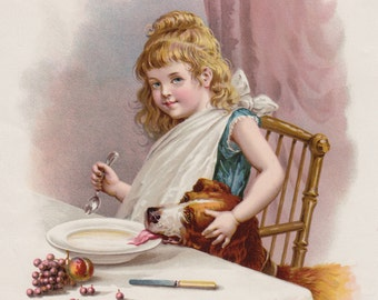 Little Girl Sharing Breakfast with Beloved Newfoundland Dog & Saint Bernard Dog Lithograph 1893
