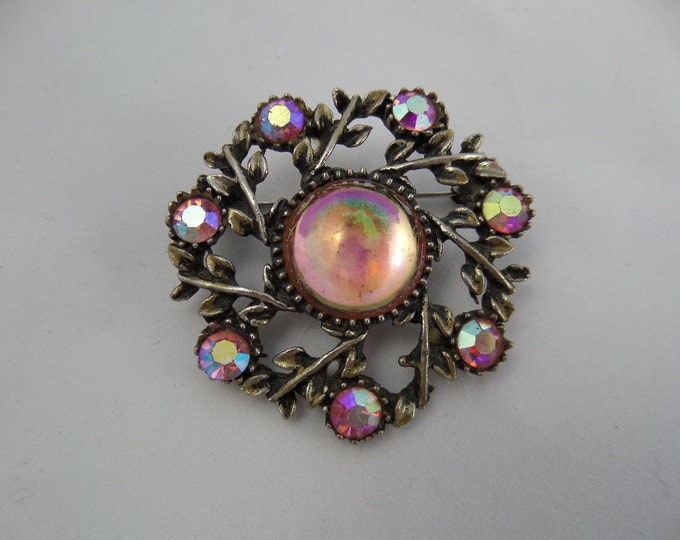 "FREE SHIPPING Pink Irridescent Rainbow Cabochon and Rhinestone Brooch, White Metal, Circa 1940, Mid Century Costume Jewellery 1.75"" x 1.75"""
