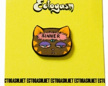 Psychedelic Cat Lapel Pin - Trippy quote jewelry - music festival rave wear