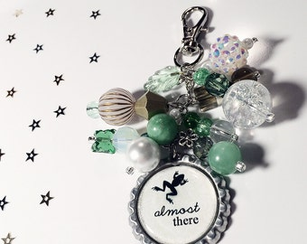Tiana Purse Charm / Disney Princess and the Frog Movie Quote / Bottlecap Pendant / Beaded Jewelry / Zipper Pull Keychain