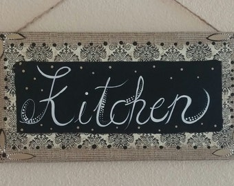 Kitchen decor, kitchen sign, hand painted sign, painted kitchen sign, sign, kitchen wall art, kitchen hanging art, wall decor,kitchen art