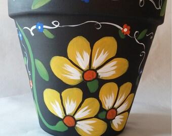 Clay pot, hand painted pot, painted flower pot, yellow flower pot, hand painted clay pot, patio decor, floral clay pot, hand painted pottery