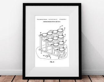 Beer Pong, Beer Game, Game Patent, Dorm Decor, Beer Party, Minimalist Poster, Beer Pong Table, College Student Gift, Printable Wall Art