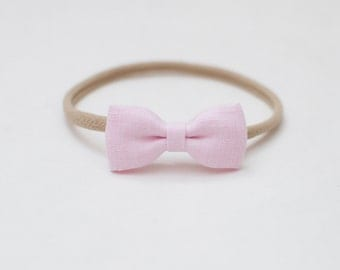 Natural Organic Linen Small Bow Headband One size Cherry Blossom Pink