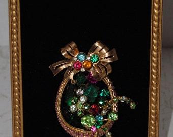 Vintage Framed Jewelry Art Basket Of Flowers