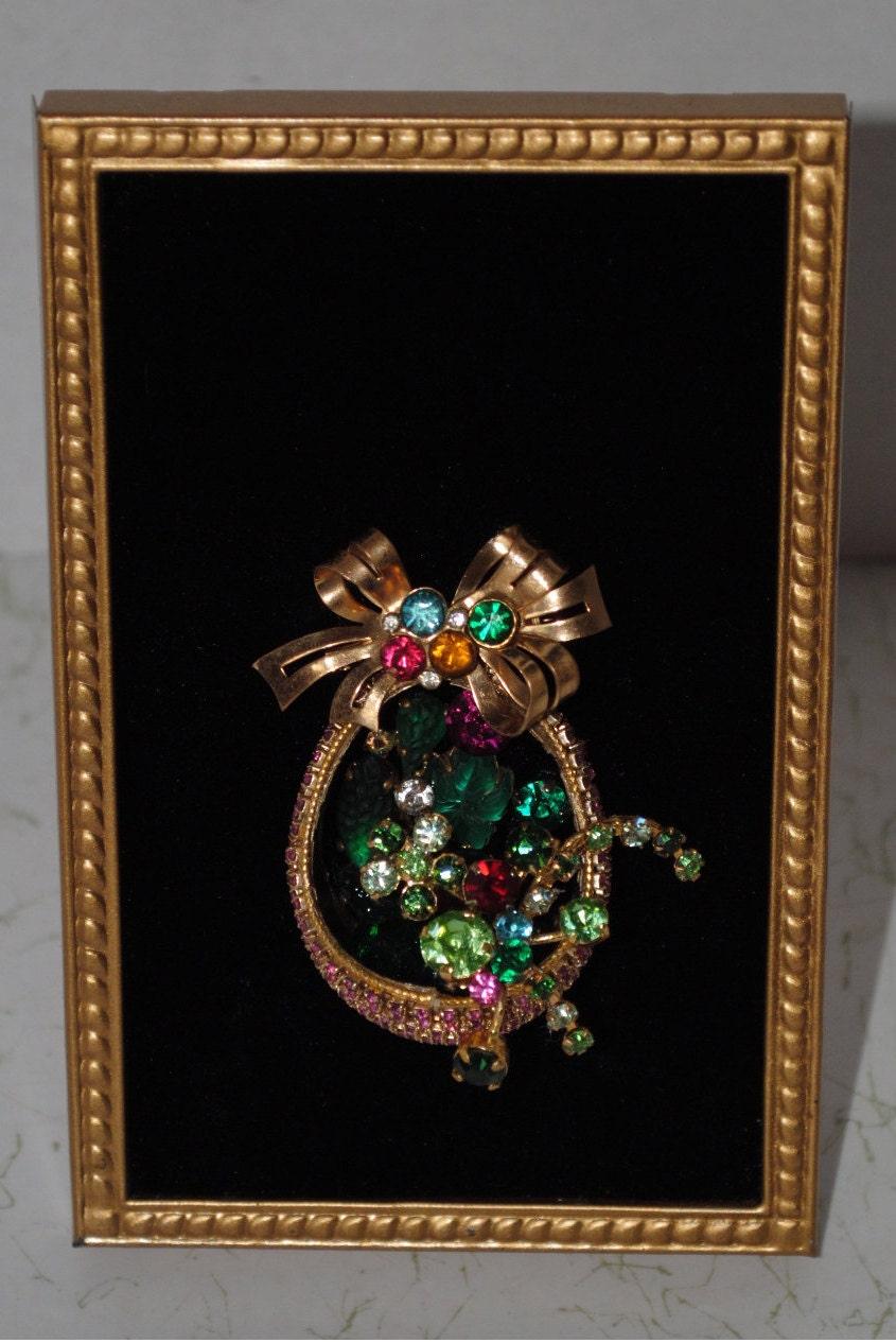 vintage framed jewelry art basket of flowers. Black Bedroom Furniture Sets. Home Design Ideas