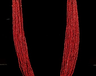 Native American  (20) Strand Squaw Wrap Coral Beaded Necklace